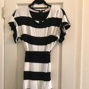 LOFT: Black and White striped dress